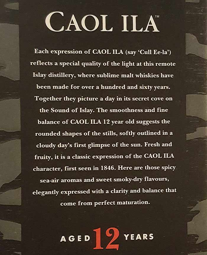 Caol Ila 12YO package text