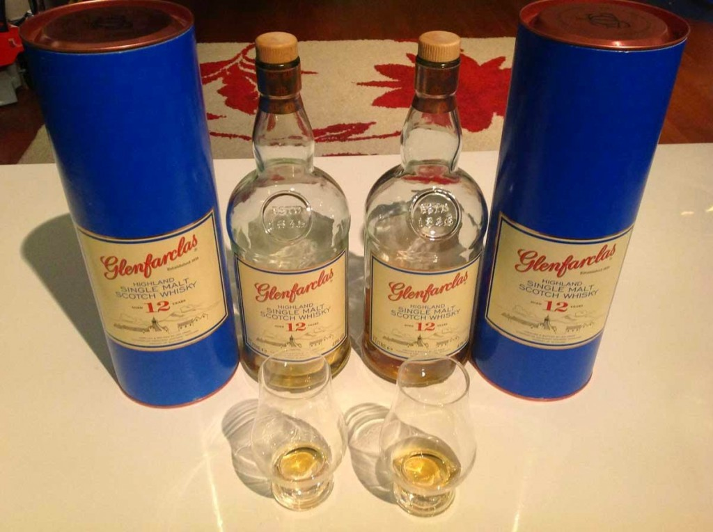 Two Glenfarclas 12YO single malts side by side