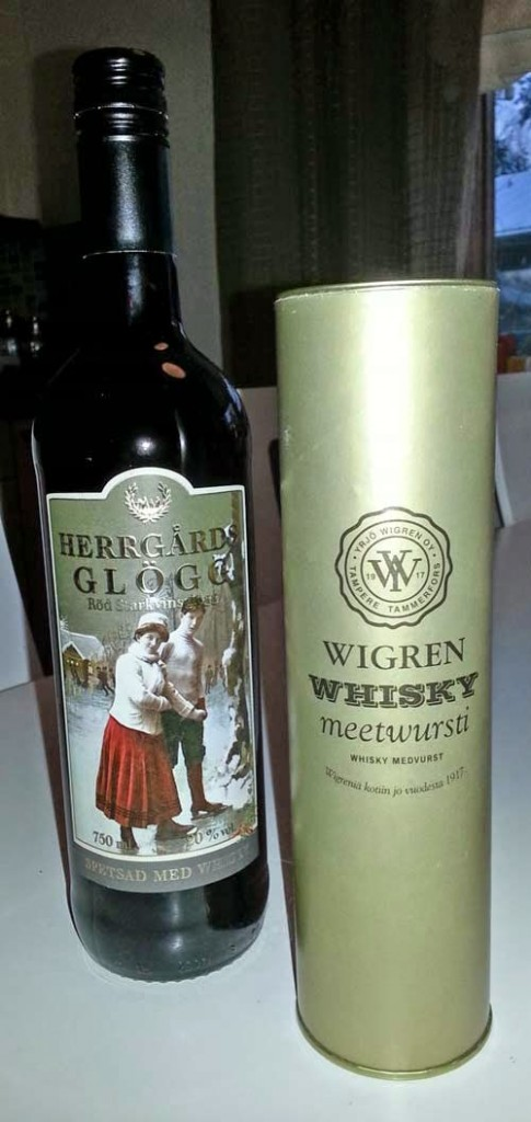 Herrgårds whisky glogg and Wigren whisky mettwurst
