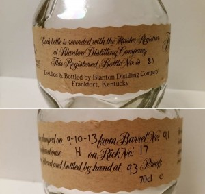Blanton's Original Single Barrel 41, bottle number 81. Bottled 4-10-2013