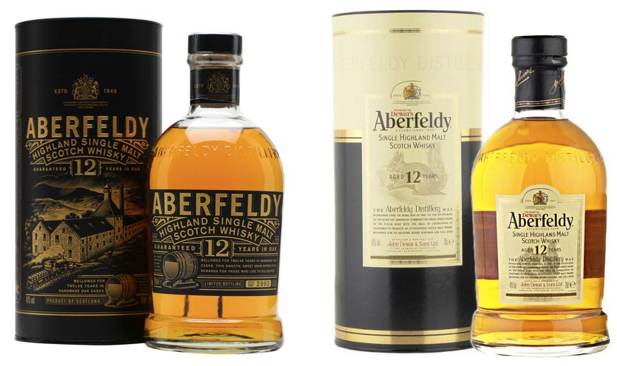 Aberfeldy 12YO package design, the updated version and the old