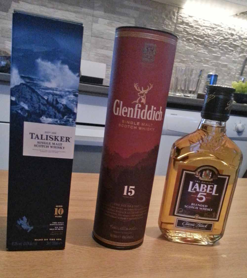 Talisker 10yo – Glenfiddich 15yo – Label 5 blended whisky
