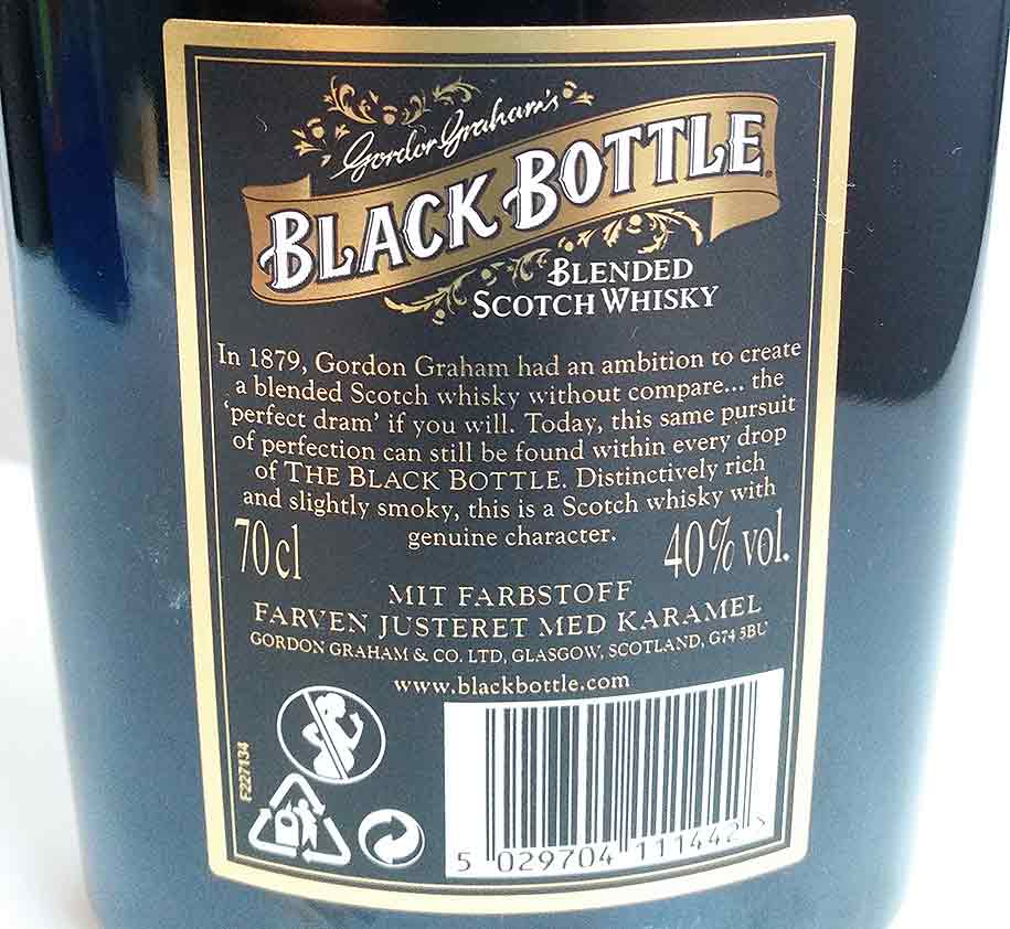Back of the new bottling of Black Bottle blended whisky