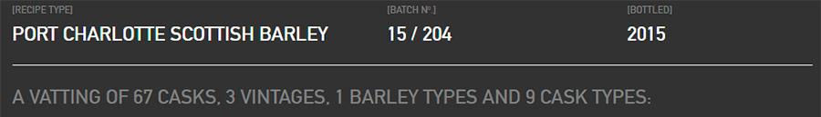 Port Charlotte Scottish Barley Batch 15/204 recipe