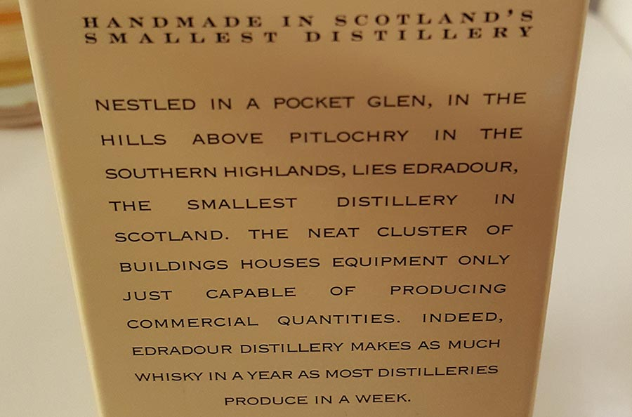 Edradour 10YO from the smallest distillery in Scotland