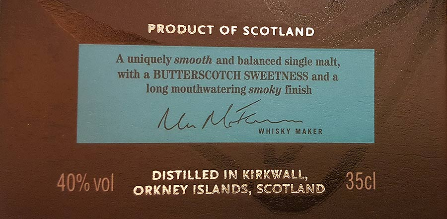 Highland Park 10 year old package label