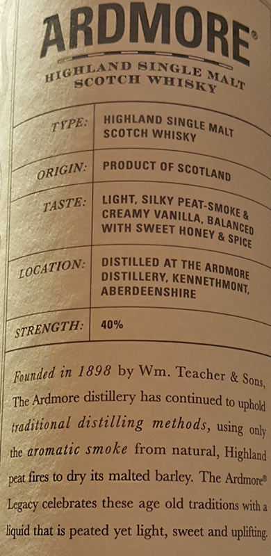 Distilled at The Ardmore Distillery Highlands - Lightly Peated Legacy