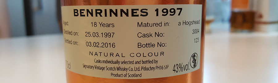 Benrinnes 18 year old whisky - Signatory 1997