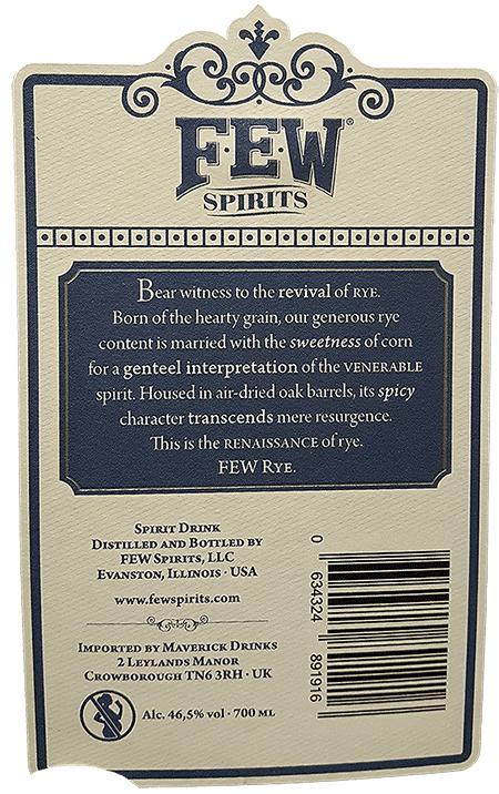 FEW Spirits back label of rye whiskey bottle