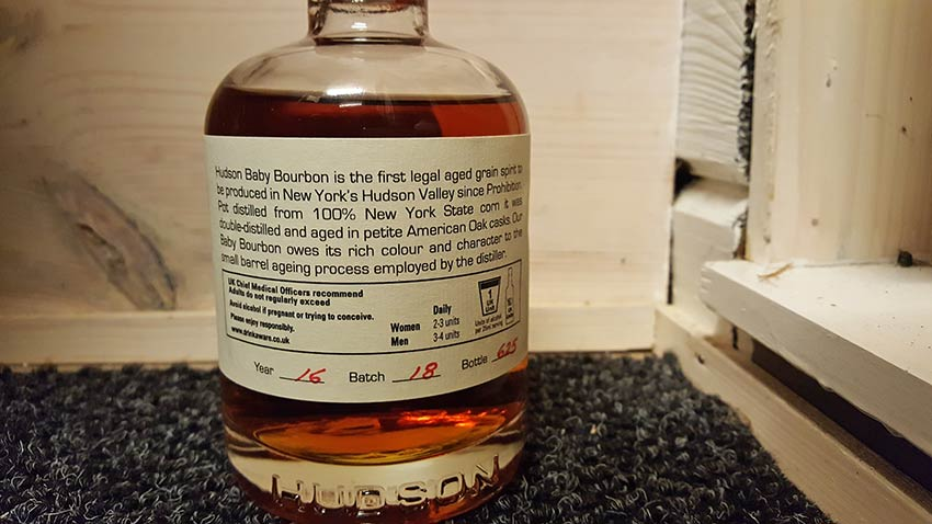 Hudson Baby Bourbon 2016 Batch 18, Bottle 625