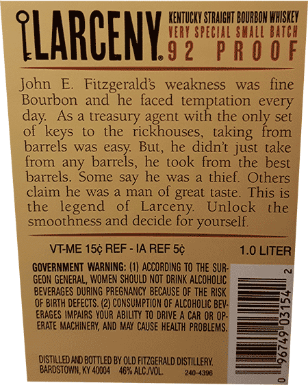 Larceny bourbon back label