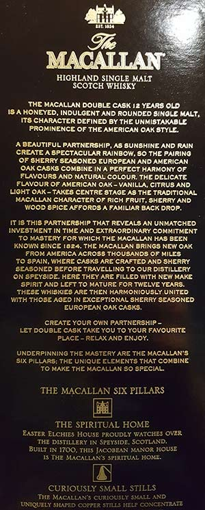 The Macallan 12YO Double Cask package marketing text