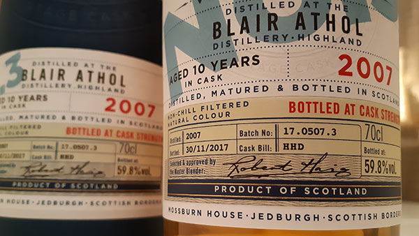 Blair Athol 10 year old cask strength single malt whisky by Mossburn Distillers & Blenders