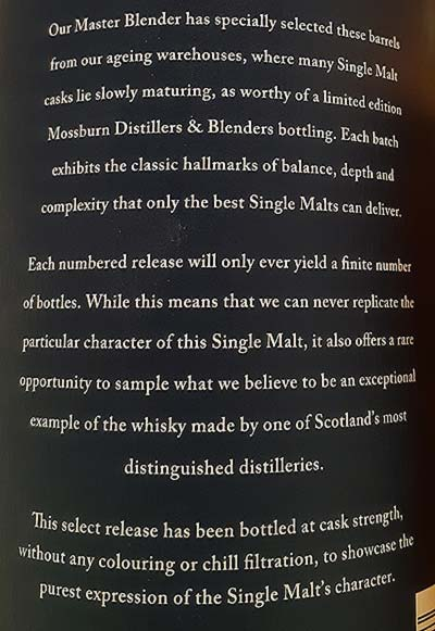 Mossburn package description for Blair Athol Highland single malt