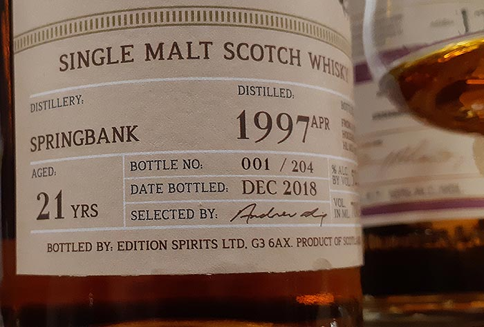 Single cask Springbank bottled December 2018