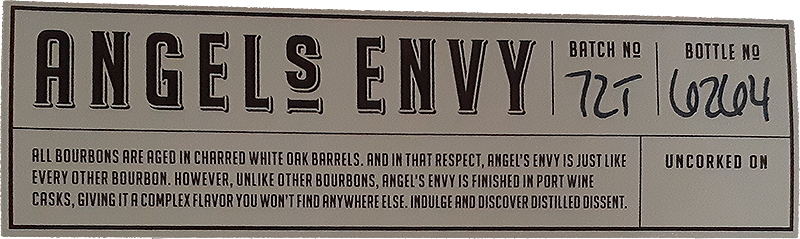 Angel's Envy Whiskey Label with batch and bottle number
