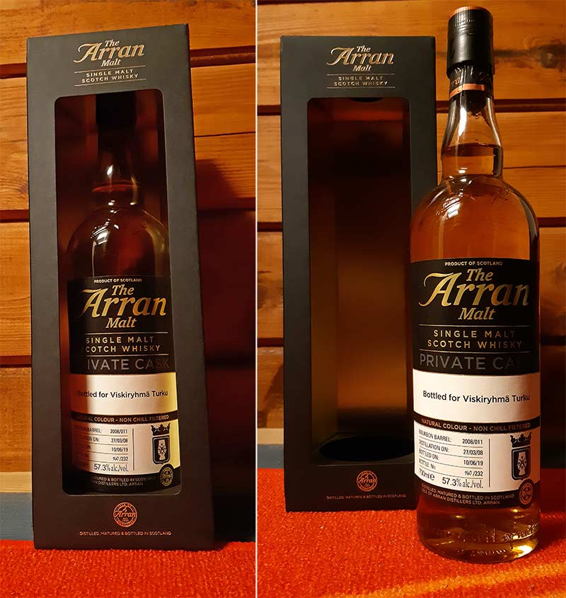 Arran Private Single Cask bottled for whisky society in Turku
