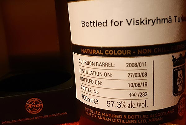 Bottle no. 140/232 of Viskiryhmä Turku Private Cask