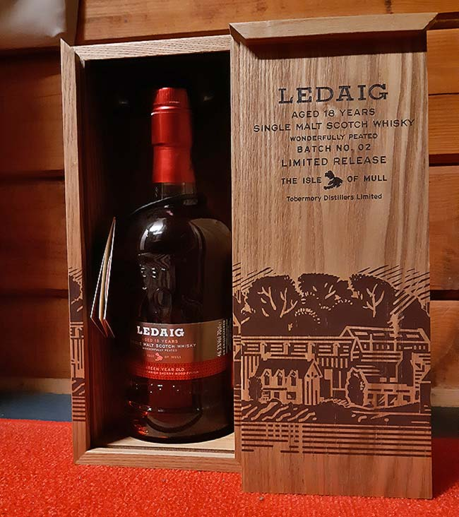 Ledaig 18 year old whisky comes in a stylish package made out of wood