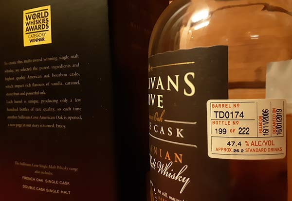 Sullivans Cove Single Cask Barrel number TD0174