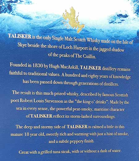 Story of Talisker whisky on the back of 18 year old whisky package
