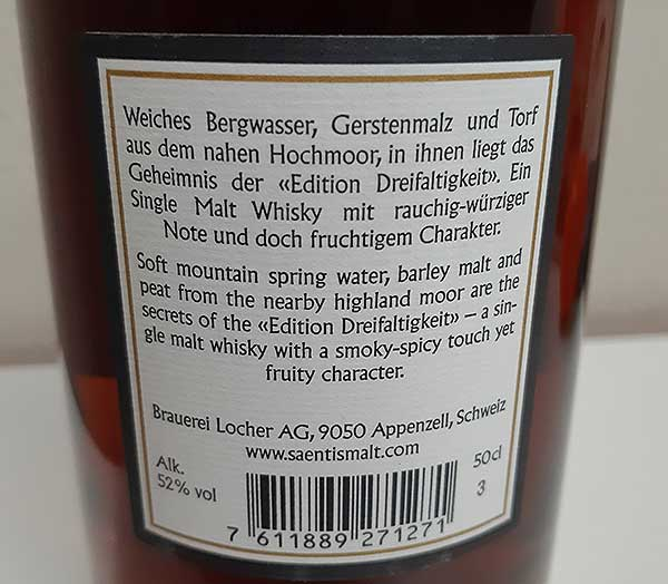 Säntis Edition Dreifaltigkeit Malt Whisky Label