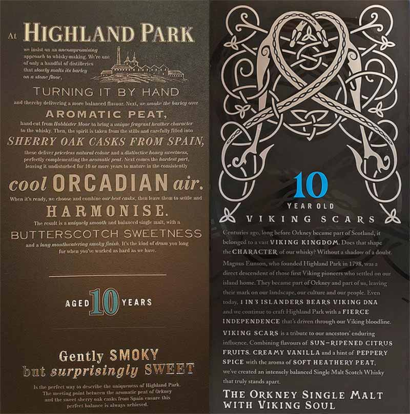 Comparison of Highland Park 10 package texts