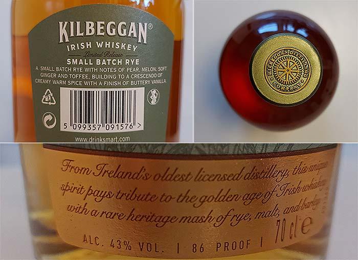 Label and top of Kilbeggan Irish Rye Whiskey