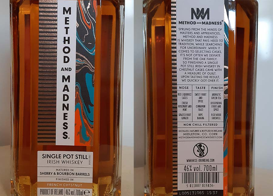 Method and Madness whiskey bottle label